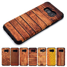 Wood Grain Shockproof Cover Case for Samsung Galaxy S8 s8plus S7 edge Soft TPU+PC Armor Cases Car Mounted Iron Plate(China)