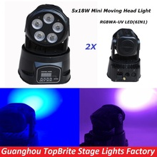 NEW 2Pcs/Lot 5*18W 6IN1 RGBAW - UV Mini LED Moving Head Wash Light , 90W Stage Moving Head Beam Light For DJ Disco Wedding Party
