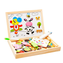 2 Types Multifunctional Drawing Board Wooden Toys Educational Magnetic Puzzle Farm Jungle Animal Children Kids Jigsaw Baby Easel