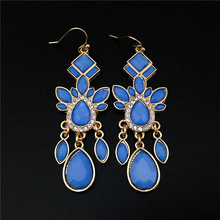 Alli Express Turkey Special Store Vintage Gold Blue Rhinestone Elements Long Hanging Earring Earing from India