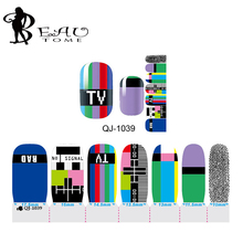 Beautome QJ-1039 1sheet Nail Stickers TV Channel Pad Design Full Cover Sticker Decals For Beauty Manicure Tips Wholesale