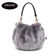 Lebolong winter blast to sell long-haired fur handbags shoulder bag Mobile bag designer handbags high quality Lantern package(China)
