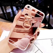 Bear stander metal ring diamond Bling Mirror For iPhone X 8 8plus 6 6S 6SPlus 6plus 4 4S 4G 5 5G 5S 7S SE 7 7plus phone Case(China)