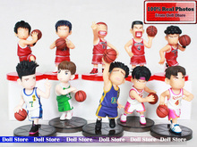 10pcs/lot 8cm PVC Slam Dunk shohoku action figure set Japanese anime figures set Basketball Team Hanamichi Sakuragi Q Version
