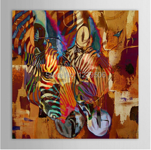 100% Handpainted Modern Art Wall Picture Zebra Couple Animal Painting Home Decor Abstraction Hang Picture Knife Oil Paintings