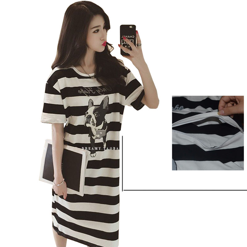 Striped Dress Nursing Breastfeeding Maternity Tunic Cotton Cute Comfy M//L//XL//2XL