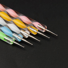 5PCS/Lot Exquisite 1MM/1.5MM/2MM/2.5MM/3MM Marbleizing Dotting Manicure Tools Painting Pen Nail Art Paint Point drill pen