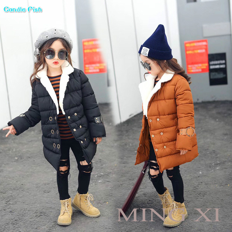 2017 Winter new childrens clothing girl jacket in the long section of double-breasted lapel luggage button cotton jacket<br>