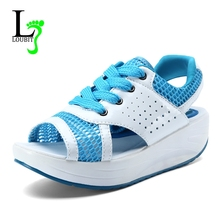 Women's Shoes Summer Swing Sandals Fashion Lady Footwear Open Toe Woman Casual Shoes Breathable Platform Sandalias Lace Up(China)