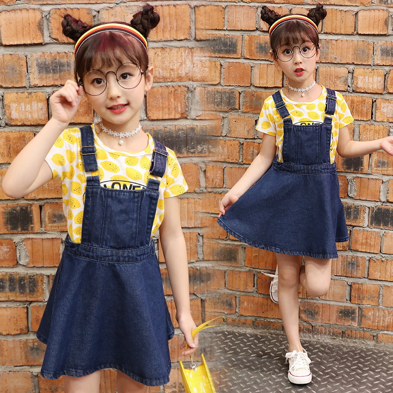 2017 Summer New Product Girl Child Cowboy Straps Suit Short Sleeve 2 Pieces<br>