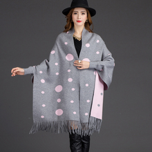 2017 hot Warm dot Women Cashmere Scarf High Quality Tassel Female Winter Pashmina black red fashion long Sleeve clothing Ponchos(China)