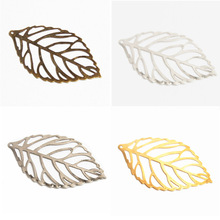 50Pcs Pick Colour Leaves Filigree Wraps Connectors Metal Crafts Connector For Jewelry Making DIY Accessories Charm Pendant