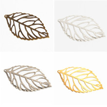 50Pcs Pick Colour Leaves Filigree Wraps Connectors Metal Crafts Connector For Jewelry Making DIY Accessories Charm Pendant(China)
