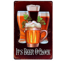 Hot BEER OCLOCK CERVEJA Metal Tin Signs Vintage Home Decor Art Plate Poster Retro Plaque Wall Painting For Bar Pub Cafe A627