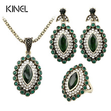 Indian Vintage Luxury Rhinestone Green Crystal Horse Eye Flower Statement Necklace Earring Fashion Jewelry Set Anel De Formatura