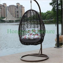 Rattan hanging garden chair set furniture with cushions