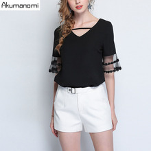 Buy Summer Blouse Women Clothing V-neck Shirt Lace Flare Half Sleeve Tops High Plus Size Brief Fashion 5XL 4XL 3XL 2XL XL L for $20.36 in AliExpress store