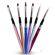 6 Style Nail Art Brush Pen Detachable Metal Flat Crystal Carving Polish Gel UV Painting Drawing Salon Line 3D Tips Tool Manicure