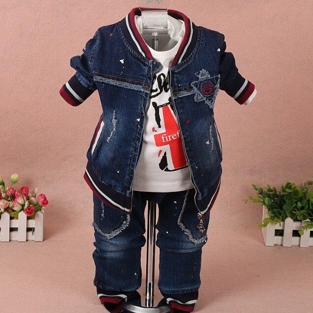 new 2017 spring boys painted denim clothing set jacket+t shirt+jeans 3pcs baby boy clothes sets kids autumn casual apparel suit<br>
