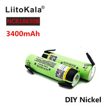 2PCS Liitokala 100% New Original NCR18650B 3.7v 3400mah 18650 Rechargeable Battery Lithium Nickle batteries DIY Sheet(China)