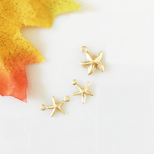 Gold filled starfish charms small cute star connector pendants Beads  for jewelry making 3pcs