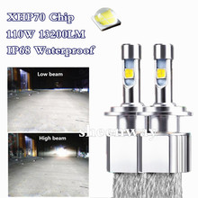 H4 Hi/Lo beam Car styling LED Headlight lamp For Cree XHP-70 chip Auto Kit Fog Bulb Headlamp Light H7 H8 H9 H11 9005 9006 9012(China)