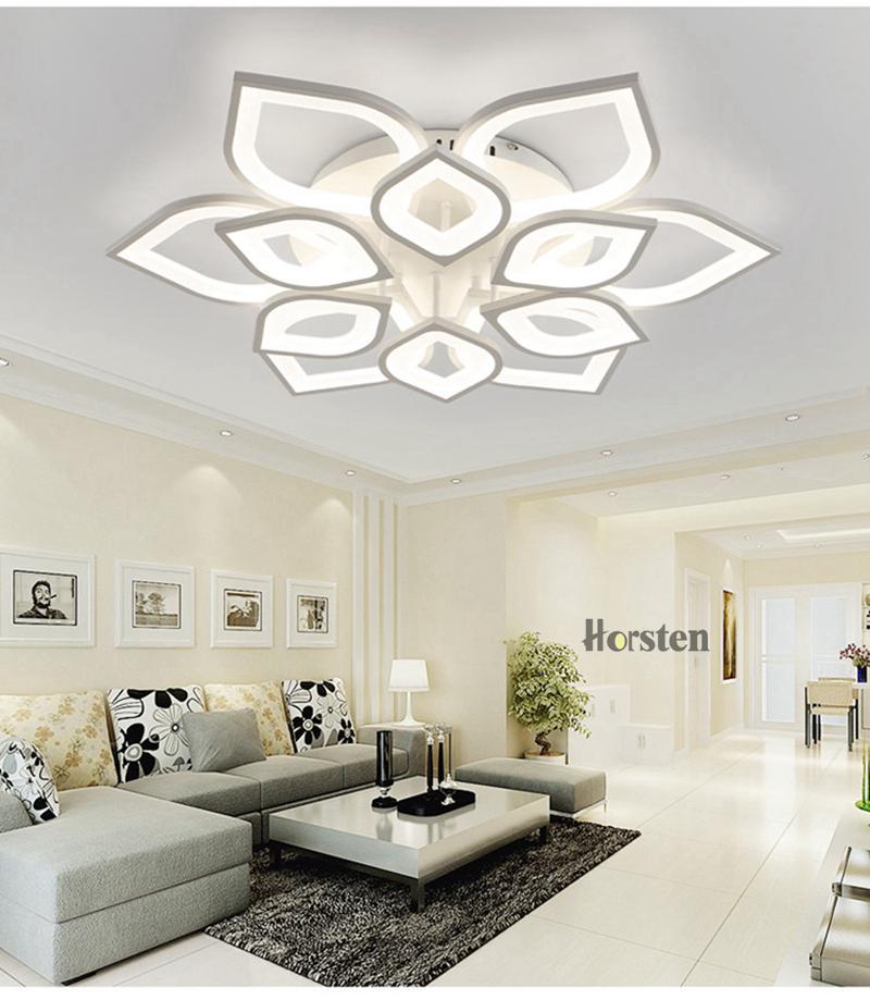 Horsten Remote Control Modern LED Ceiling Lights For Living Room Bedroom Acrylic Ceiling Lamps Flower Design Celing Lamp 90-260V (8)