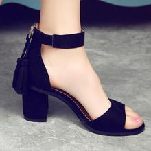 D&Henlu Woman Shoes 2017 summer Tassel Flock women sandals fringe sandal heels Thick high heels sandals sandalias de salto alto