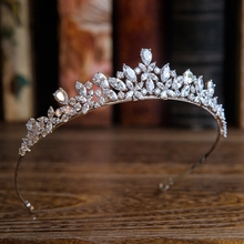 New Arrival High quality European Brides Cubic Zirconia Tiara Headpieces Evening Crown Hair Accessories