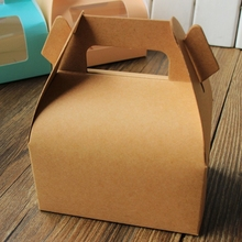 Brown Kraft paper cake box with handle,wedding party favour boxes good for handmade gift packing box soap muffin cookies 30pcs