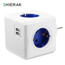 SHIERAK Smart Home Power Cube Socket EU Plug 4 Outlets 2 USB Ports Adapter Power Strip Extension Adapter Multi Switched Sockets(China)