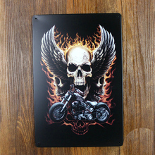 Retro Skull Motorcycle Garage Poster Wall Art Decor House Tin sign Coffee decor Vintage Metal Old Bars 20x30 Cm