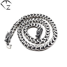 Dragonscale Necklace 925 Sterling Silver Men Big Statment 100% S925 Solid Silver Chain Necklaces Dragon Head Jewelry Making