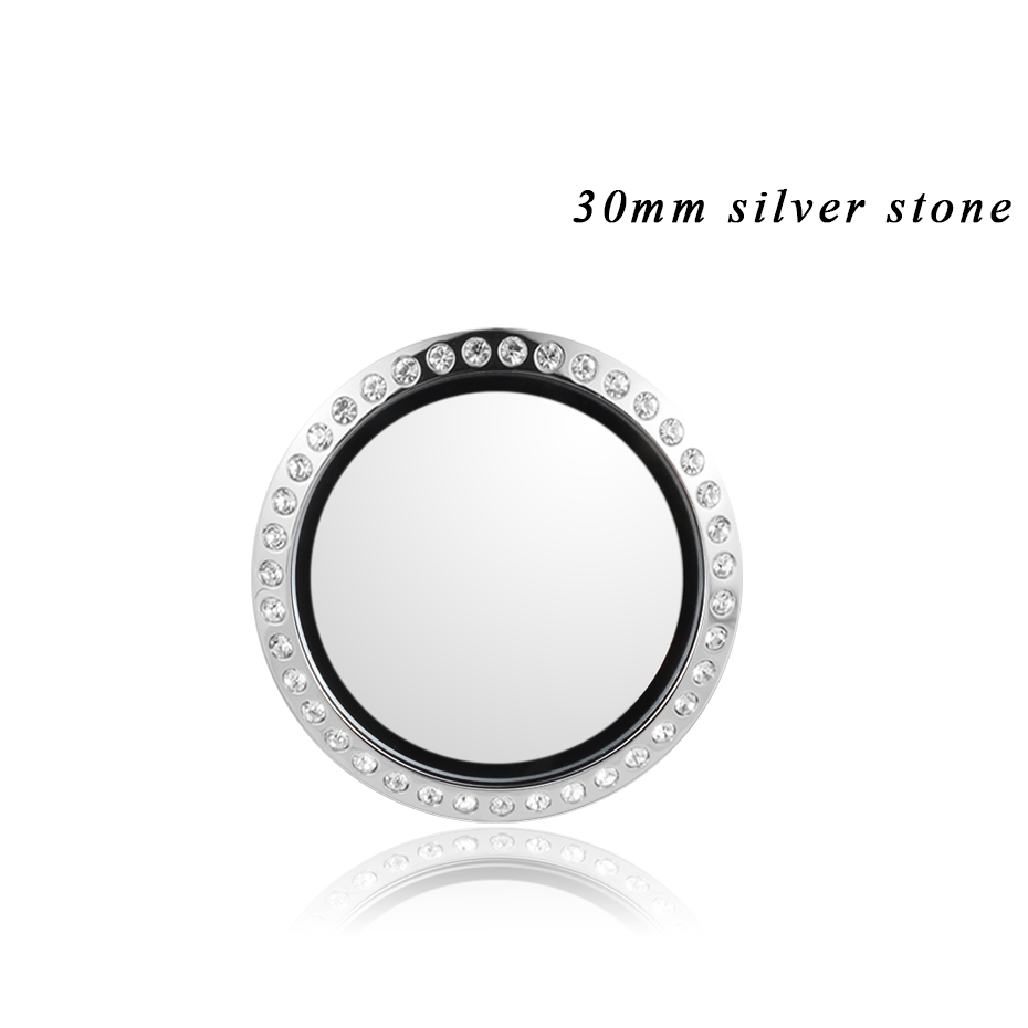 Carvort Stick Floating Locket for Cellphone 30mm Stainless Steel Silver Living Lockets Memory Stone Charms Storage Box with 3M- (9)