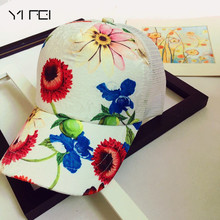 YIFEI Hot Sale Ladies Baseball Caps Flower Printing Summer Style Hip Hop Cool Cap for Women Quick Dry Sun hat Snapback