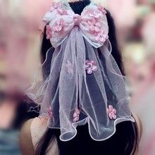 Children Bow  Hair Princess Wedding Dress Big Hair Clips Girls  Flower Veil Clip