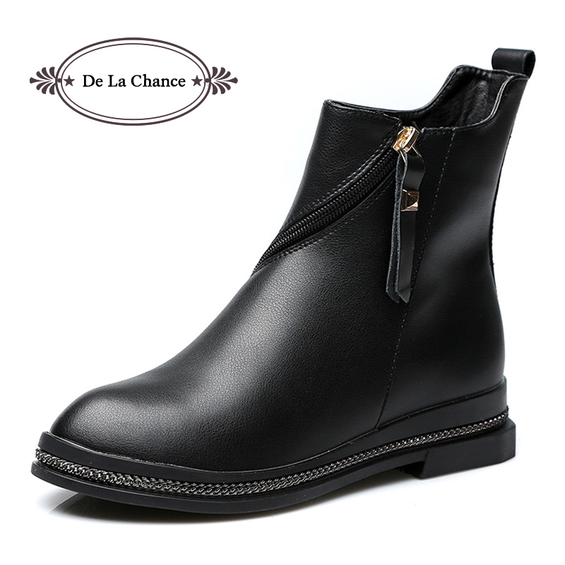 De La Chance Women Designer Genuine Leather Motorcycle Boots For Women 2017 Round Toe Rock Stud Ladies Ankle Boots Flats Shoes<br>
