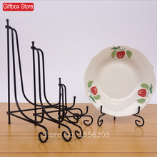 Free Shipping Decorative Iron Table Picture Frame Display Easel Stand Dish Plate Bowl Book Pedestal Holder Home Decoration Black(China)