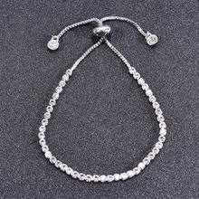 Luxury Zircon Crystal Bracelets Silver Color Adjustable Charm Tennis Braclet For Women Girls Friend Hand Jewelry Pulseira