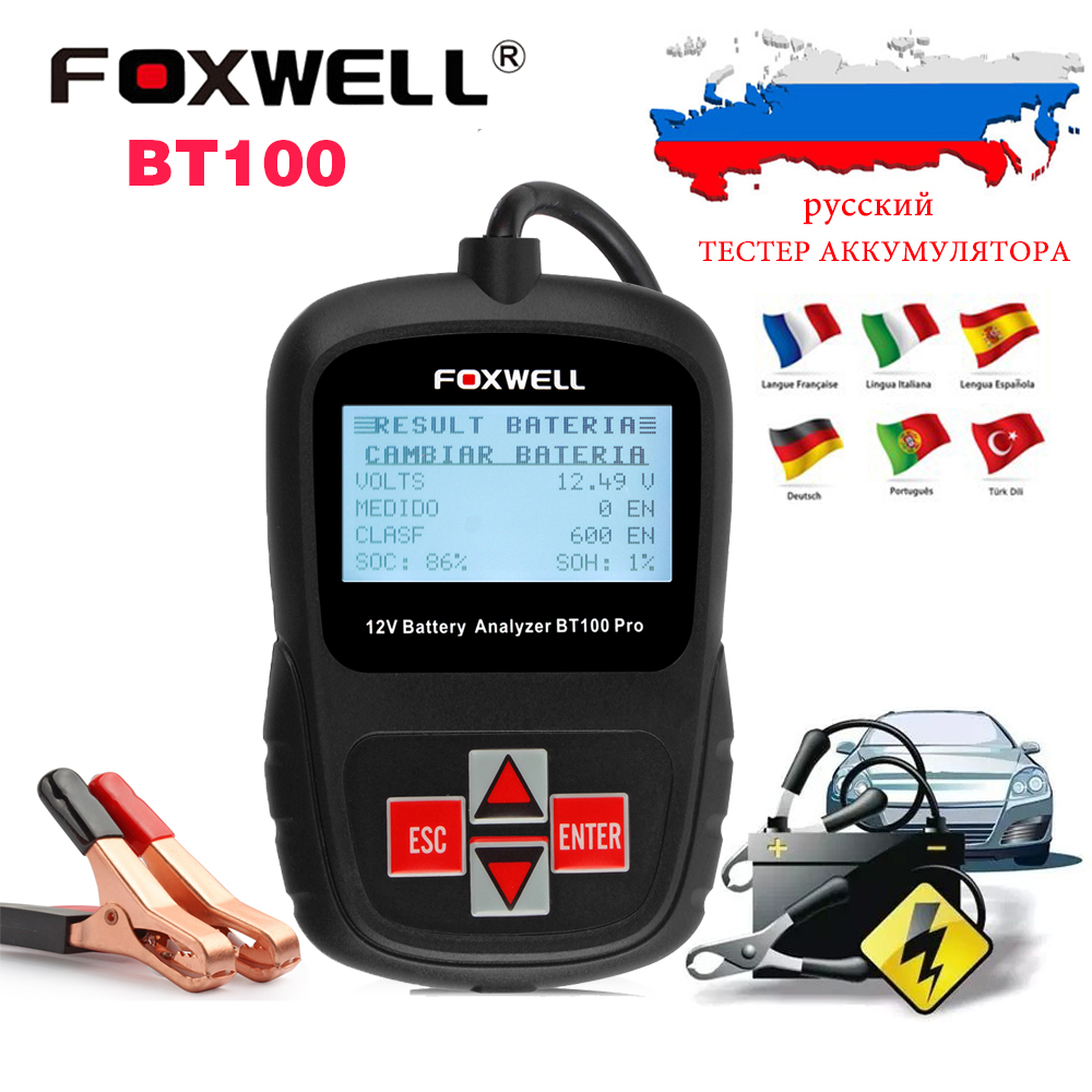 12V Car Battery Tester Foxwell BT100 Digital Auto Battery Analyzer Voltmeter Capacity tester for 1100CCA Battery in Russian(Hong Kong)
