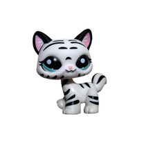 Pet Shop Animal Black Striped White Cat Loose Figure Child Girl Toy(China)