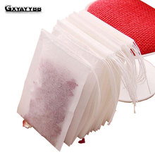 Hot100Pcs/one-time Batch of Tea Bags Empty Aroma Tea Bag And String Treatment Sealed Filter Paper Herbal Loose Tea Kitchen Tools(China)