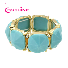 Kayshine Pulseiras Fashion Bracelets & Bangles for Women Blue Geometric Created Rhinestone Bangles Natural Stone Bracelet(China)