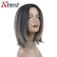 Xtrend 10inch Ombre Short Bob Hair Wigs For Women Synthetic Wig Adjustable High Temperature Fiber Grey Bug Cosplay Wig(China)