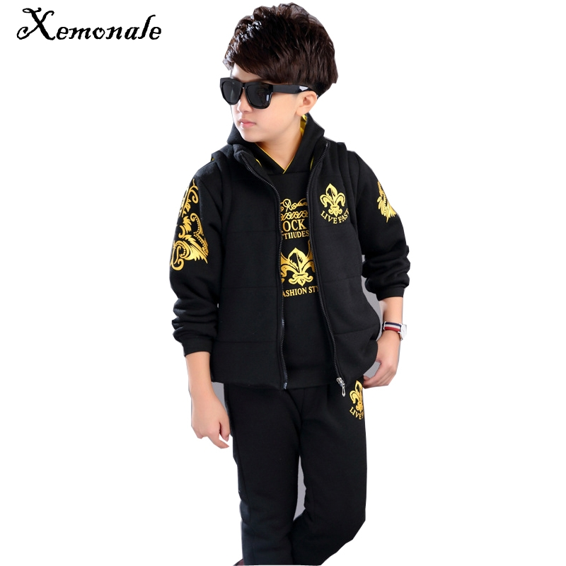Xemonale Winter Boy Clothing Sets Children Thick Vest+Hooded Shirt+Pants 3pcs Kids Warm Clothes Sets Years Childrens Clothing<br>