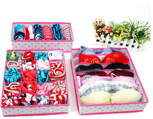 3 Pcs/set Dots Grids Storage Box Set For Holder Bra Underwear Tie Socks Panties
