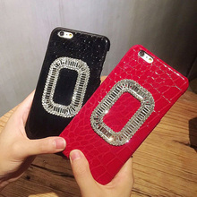 Women Luxury Shiny Rhinestones Crocodile Case For iPhone 7 6 6S Plus Phone PC Leather Cover For iPhone 6 6S Plus  Back lina