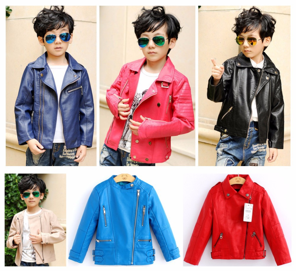 2018 Rushed Direct Selling Unisex Full And Windproof Waterproof Leather Pu Solid Color Collar Spell High-grade Jacket Children <br>