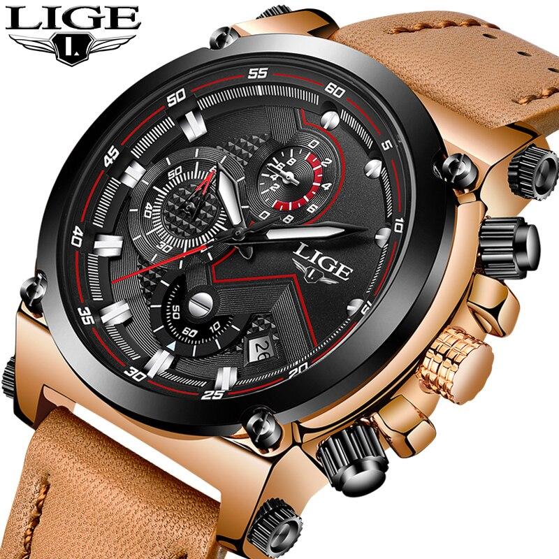 LIGE Mens Watches Top Brand Luxury Quartz Watch Men Fashion Waterproof Leather Army Military Sports Watch Man Relogio Masculino<br>