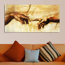 QCART Canvas Prints famous oil painting (Creation of Adam) by Michelangelo giclee print on canvas for wall